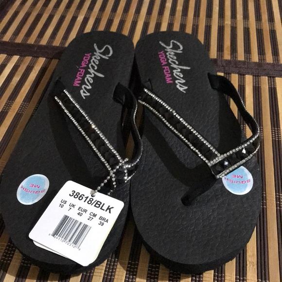 New Skechers Women's Yoga Foam Sandals Black Bling